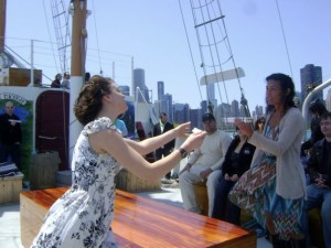 Jessie as Luciana in Bard on the Boat! Opposite her friend and mentor Tiza Garland as Adriana
