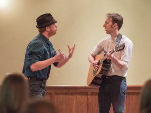 Adam, rockin' the fedora, with Kamron Palmer in our annual Twelfth Night on Twelfth Night (photo courtesy of iNDie Grant Productions)